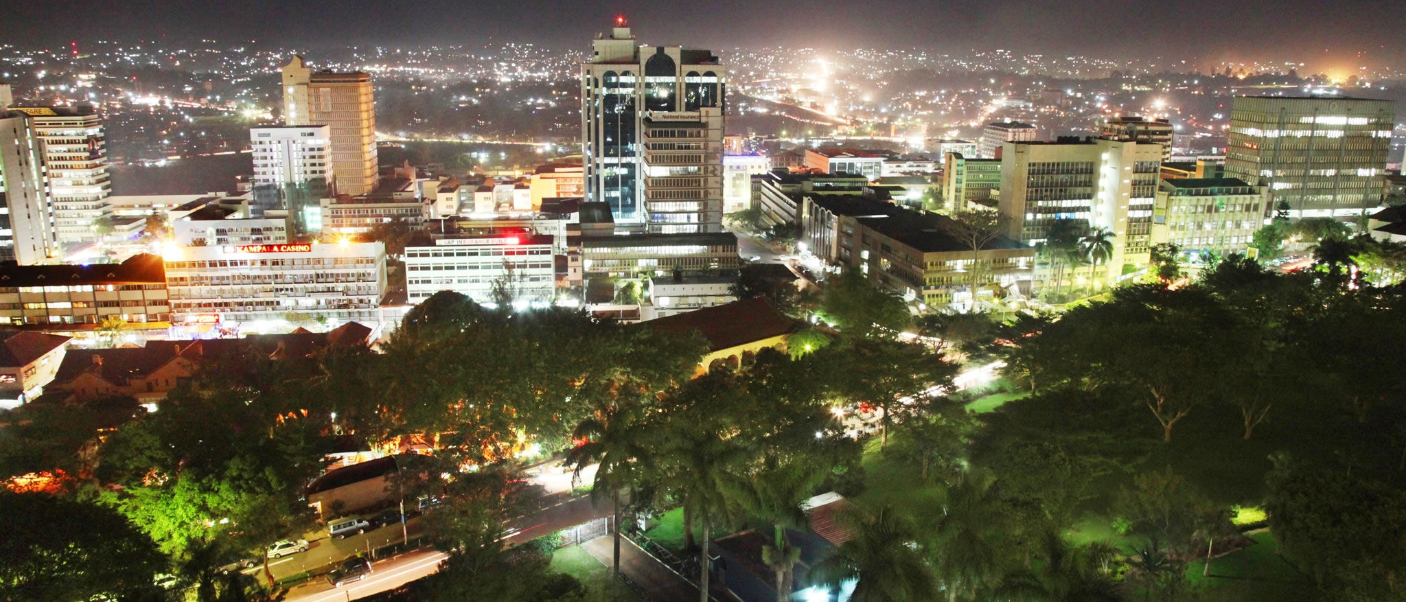 Exterior night view of Kampala City